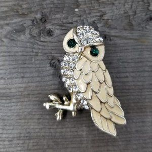 Golden Rhinestone Owl Pin with Emerald Eyes